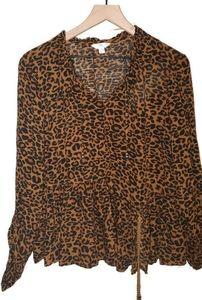 Time&Tru Cheetah Print Flowy Pesant Top Tie Waist